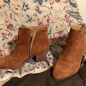 Lucky Brand Cognac studded suede booties